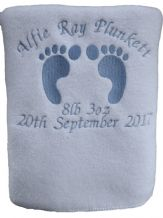 PERSONALISED BABY BLANKET, LG FOOT PRINTS, PINK OR BLUE